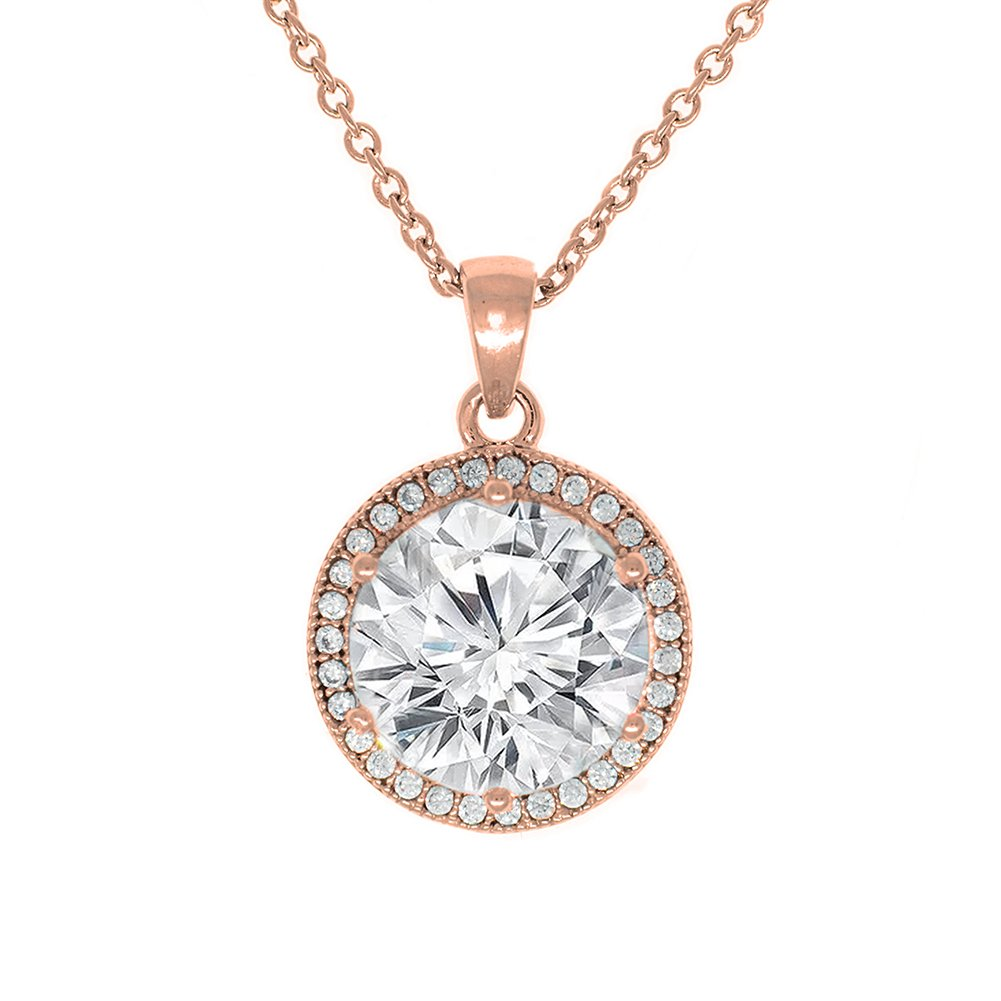 Cate & Chloe Mariah 18k Rose Gold Plated Round Cut CZ Halo Pendant Necklace - Cubic Zirconia Halo Cluster Rose Gold Necklace w/Solitaire Round Cut Crystal - Wedding Anniversary Jewelry - MSRP - 150