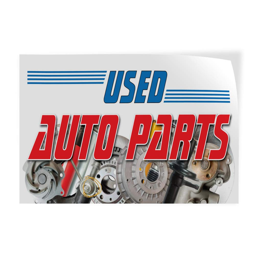 Set of 10 14inx10in Decal Sticker Multiple Sizes Used Auto Parts Auto Car Vehicle Automotive Used Auto Parts Outdoor Store Sign White