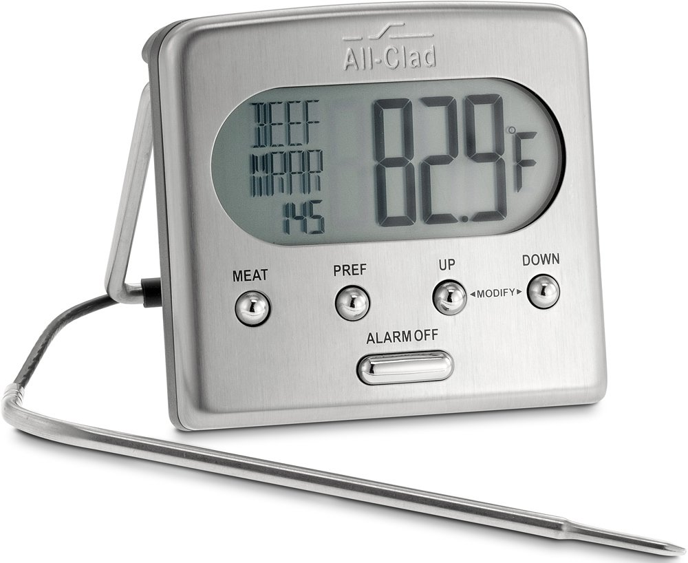 All-Clad T223 Stainless Steel Oven Probe Thermometer with Blue LCD, Silver
