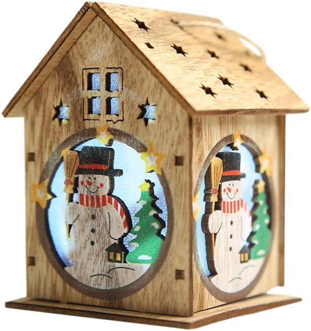Lilideni Navidad Luminoso Casa de Madera Efecto de Cambio de Color Luz led DIY Chalet de Madera Árbol de Navidad Adornos Colgantes Festival de muñecos de Nieve Decoraciones navideñas