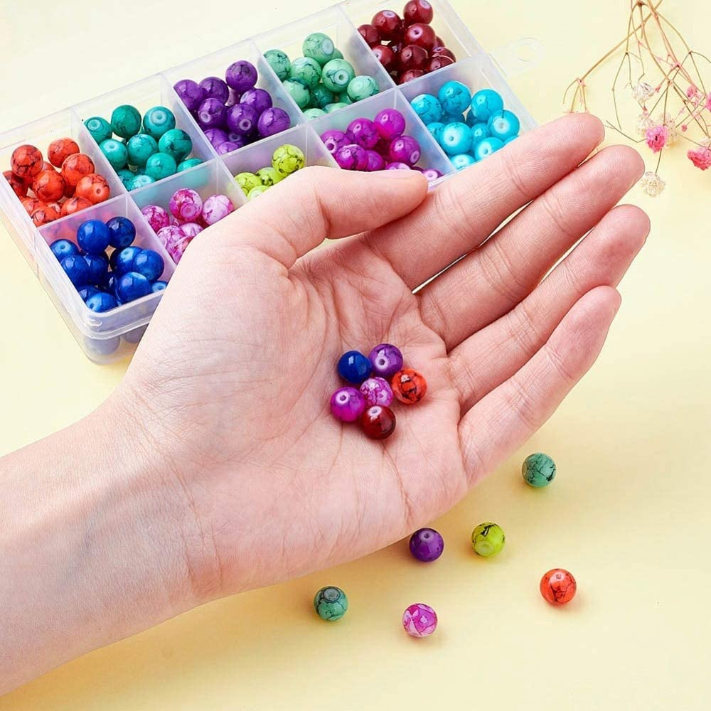 240PCS Round Drawbench Glass Beads For DIY Craft Jewelry Making Mixed Color