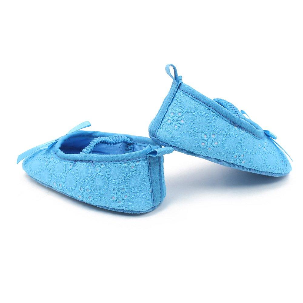 Pantoufles de Ballerine de Danse antid/érapantes OOSAKU Chaussures B/éb/é Filles Chaussures de bapt/ême bapt/ême en Dentelle Floral Bowknot