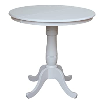 International Concepts 36 Inch Round Top Pedestal Table With 12 Inch Leaf,  36