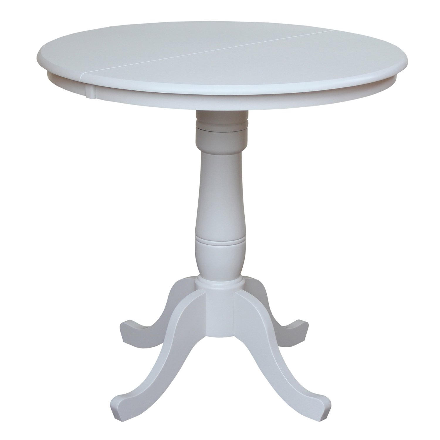 International Concepts 36-Inch Round Top Pedestal Table with 12-Inch Leaf, 36-Inch Counter Height, Linen White
