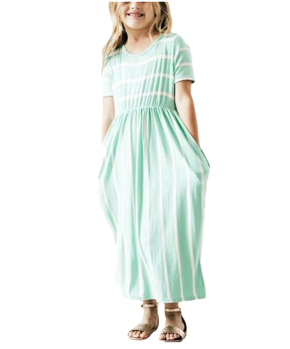 KIDVOVOU Girls Striped Short Sleeve Casual Long Maxi Dress with Pocket Size 4-13,Green,10-11years