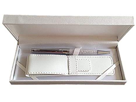 Amazon.com   Maranda-Ti Silver Swarovski Crystal Black Ink Ball Pen Gift  For Ladies - Lightweight Ballpoint 22g - Silver Case 18 x 8 cms - Luxury  Silver ... b532f9390ad0