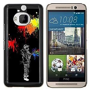 EJOOY---Cubierta de la caja de protección para la piel dura ** HTC One M9Plus M9+ M9 Plus ** --Hombre Estilo de neón Street Art pared Grafiti Sombrero