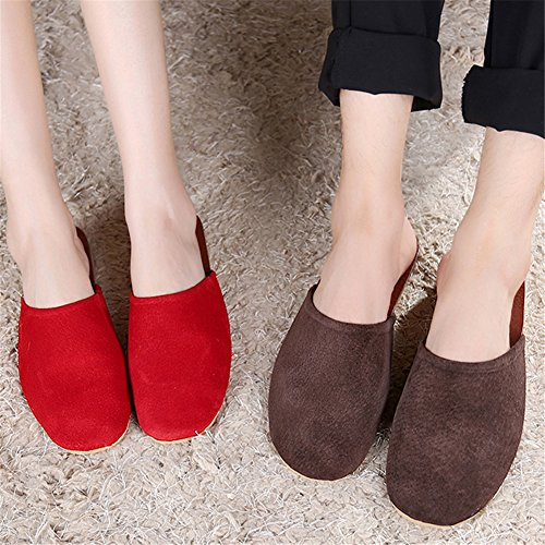 TELLW Summer Spring Autumn Winter Leather Home Slippers Leather Slippers No Damage Floor Mute Women Pink k9WhFC