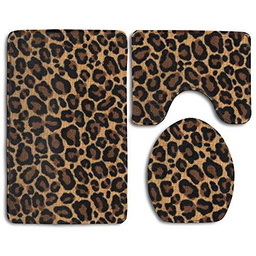 SHUDFGR12 New Leopard Skin 3-Piece Bathroom Mat Set,Extra Soft Memory Foam Combo - Rug,Contour Mat And Lid Cover (Rug Bathroom Leopard)