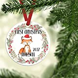 "Baby's First Christmas Ornament, Boy Christmas Ornament, Personalized Children's Ornament,Custom Porcelain Ornament, 3"" Flat Circle Christmas Ornament with Glossy Finish,Ribbon & Free Gift Box"