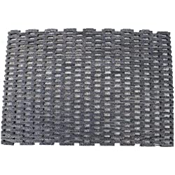 "Durable Dura-Rug Recycled Fabric Tire-Link Outdoor Entrance Mat, 24"" x 36"""