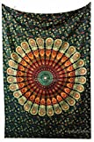 Amitus Exports(TM Premium Quality 1 X Peacock Mandala Green Color Size 81''x53'' (Approx.) Inches Indian Mandala Tapestry Thin Cotton Fabric Throws (Handmade in India)