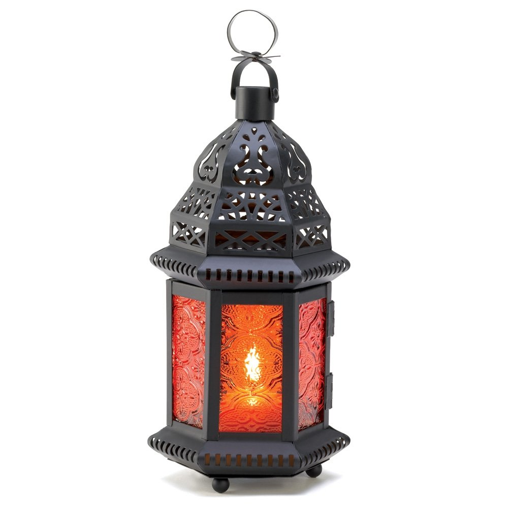 Gifts & Decor Amber Moroccan Metalwork Hanging Candleholder Lantern Furniture Creations D1058