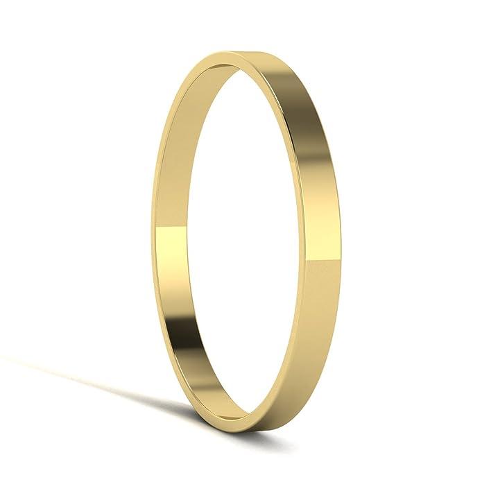 Unisex 9ct Yellow Gold, 2mm Flat Shape, Polished Wedding Ring Plain Band