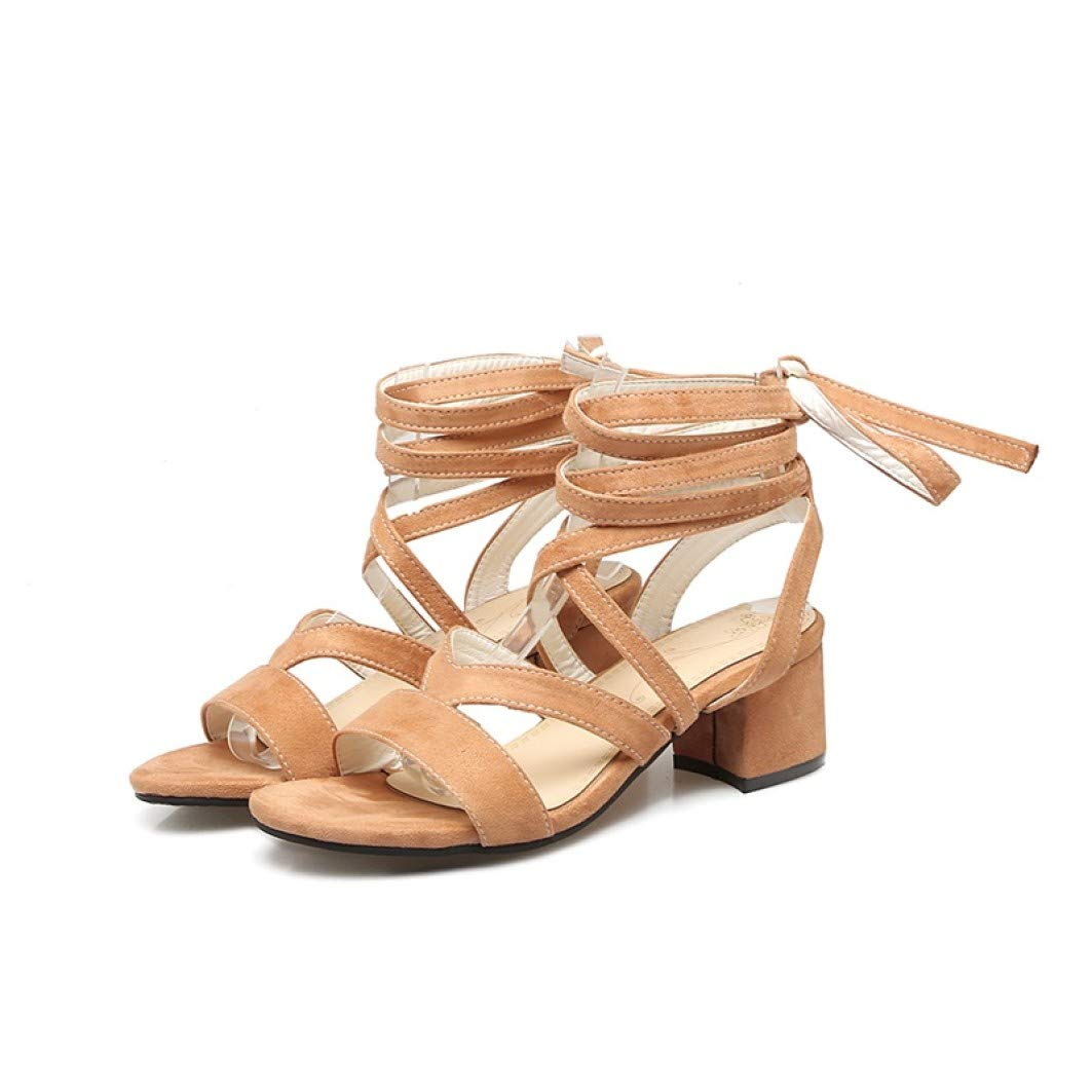 orange JOYBI Womens Square Heels Strappy Sandals Summer Cross-Strap Lace-Up Flock Comfortable Non-Slip Sandal shoes