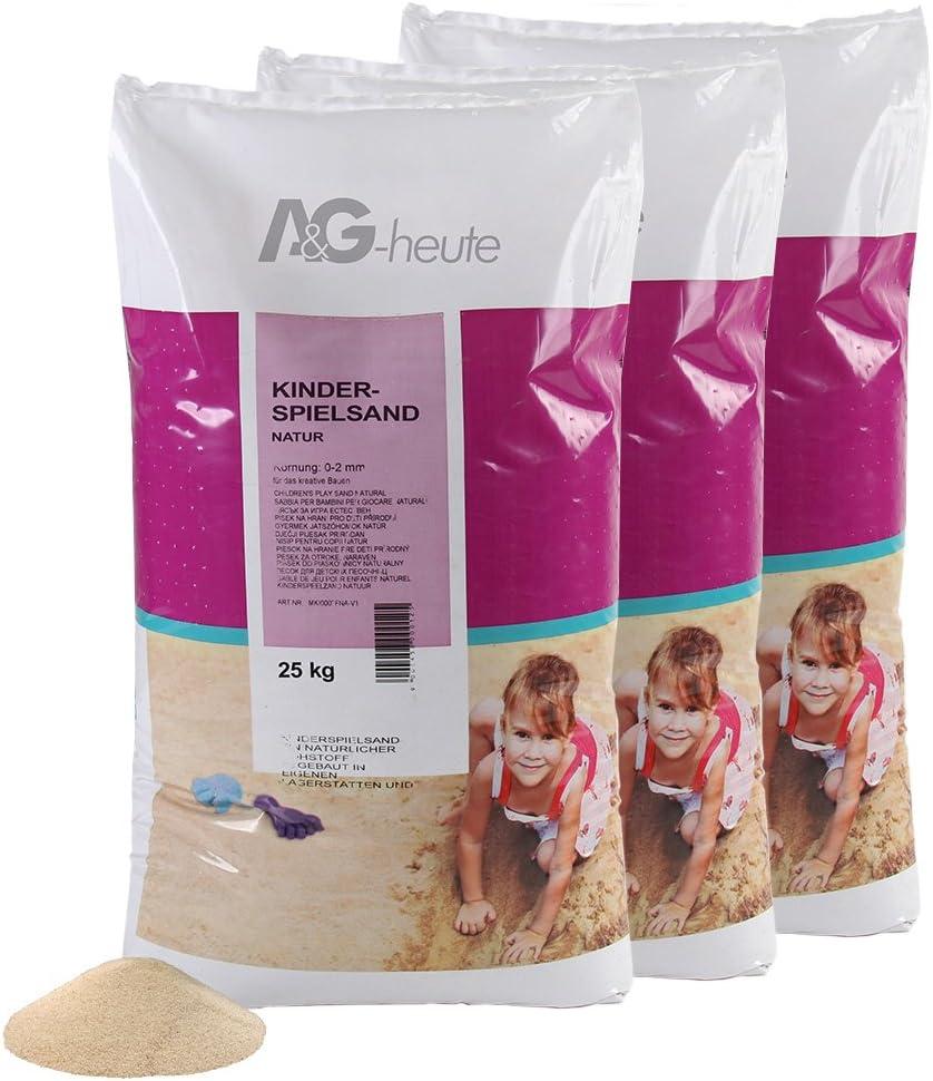 A/&G-heute 25kg Spielsand Quarzsand f/ür Kinder Sandkasten Dekosand gepr/üft gesiebt beige Neue top Qualit/ät