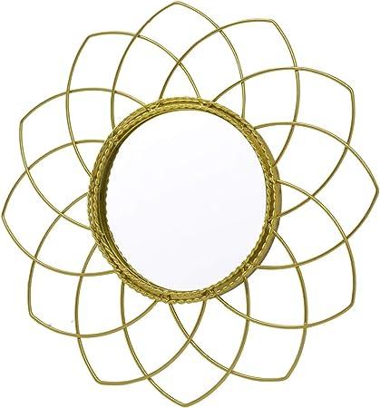 Comprar Espejo Pared Decorativo Redondo, de Metal, Color Dorado, para Dormitorio. Diseño Geométrico, Elegante ø23cm - Hogar y Más