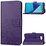 Galaxy S8 Plus Case,HAOTP(TM) Beauty Luxury Lucky Flowers Fashion Floral PU Flip Stand Credit Card ID Holders Wallet Leather Case Cover for Samsung Galaxy S8 Plus 2017 (Purple)