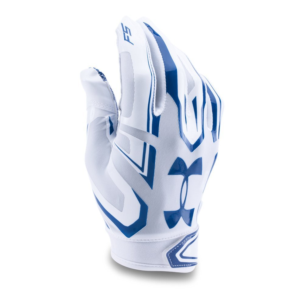 Under Armour Men's F5 Football Gloves, White/Royal, Small