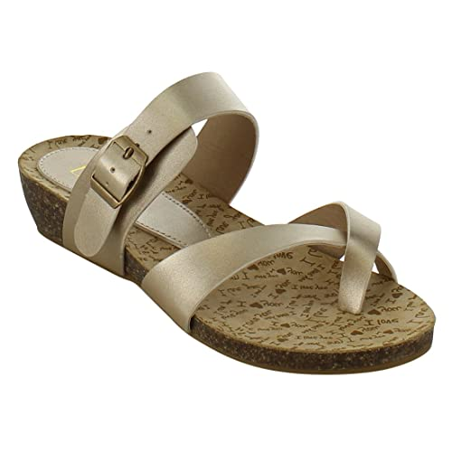c23e0cdf39 Refresh IG54 Women's Toe Ring Strappy Slide in Flat Sandals, Color Champagne,  Size: