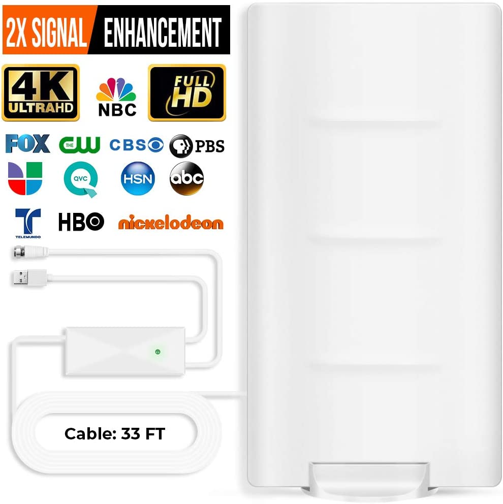 HOTTV Outdoor Indoor TV Antenna Amplified HD Digital TV Antenna Long 200 Miles Range - Support 4K 1080p Fire tv Stick and All Older TV's - Smart Signal Booster - 33ft Coax HDTV Cable/AC Adapter White