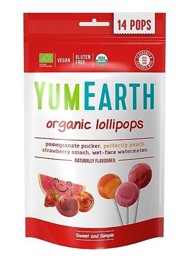 YumEarth - Piruletas Orgánicas de Frutas 4 sabores: Granada, Sandía, Fresa, Melocotón