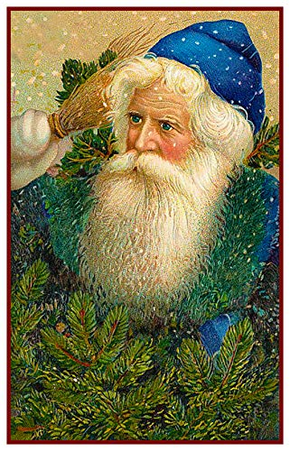 Blue Santa Claus Father Christmas Counted Cross Stitch Pattern