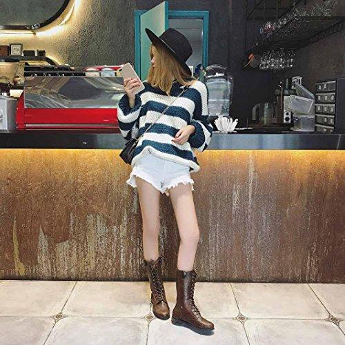 Elevin (tm) Scarpa Da Donna In Pelle Con Plateau Stivale Esterno A Metà Polpaccio Scarpone Da Sci Tacco Piatto Scarpe Casual Marrone