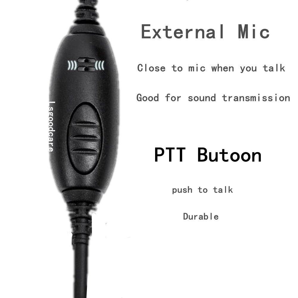 2 Pin Earpiece and Mic Lsgoodcare Ear-Clip Earhook Headset PTT Earphone Compatible for Motorola GP2000 GP88 P040 CLS1110 Two Way Radio Walkie Talkie 2 Way Radio Earmold Pink Medium