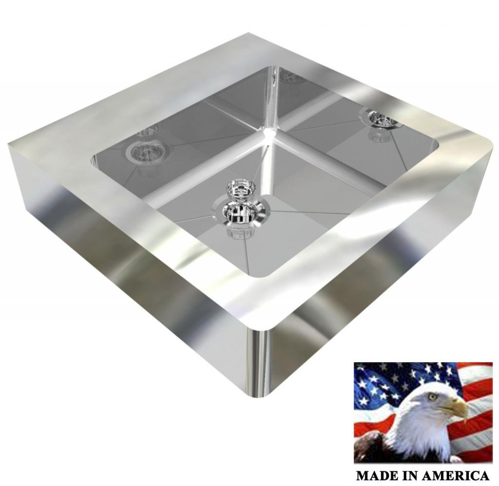 ADA HAND SINK HEAVY DUTY STAINLESS STEEL FLAT 18''X18'' BOWL DEEP=5'' MADE IN USA