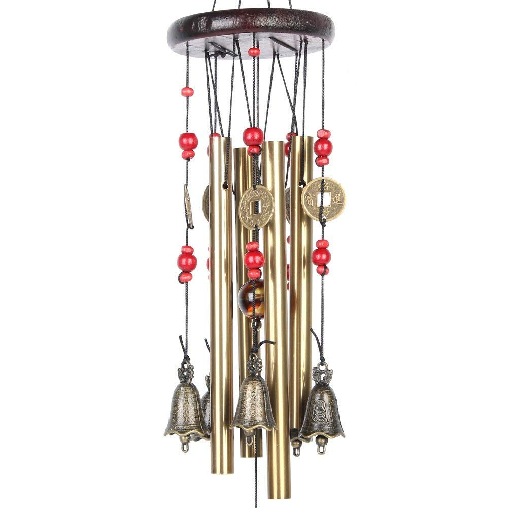 Lvcky Chinese Traditional Amazing 4 Tubes 5 Bells Bronze Yard Garden Outdoor Living Wind Chimes 60cm