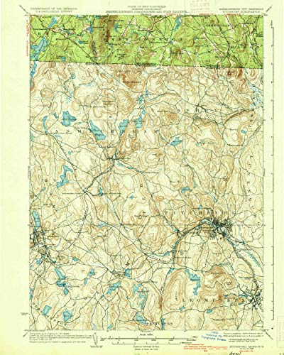 Hill Rollstone (YellowMaps Fitchburg MA topo map, 1:62500 Scale, 15 X 15 Minute, Historical, 1936, 19.7 x 15.7 in - Tyvek)