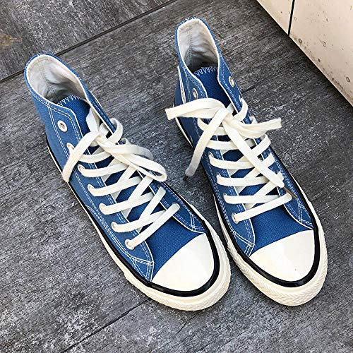 - jjksmaz High-top Canvas Shoes_1970s Retro Shoes Wild Ulzzang Students high Men and Women Couples, 9002 high smog Blue Men, 43