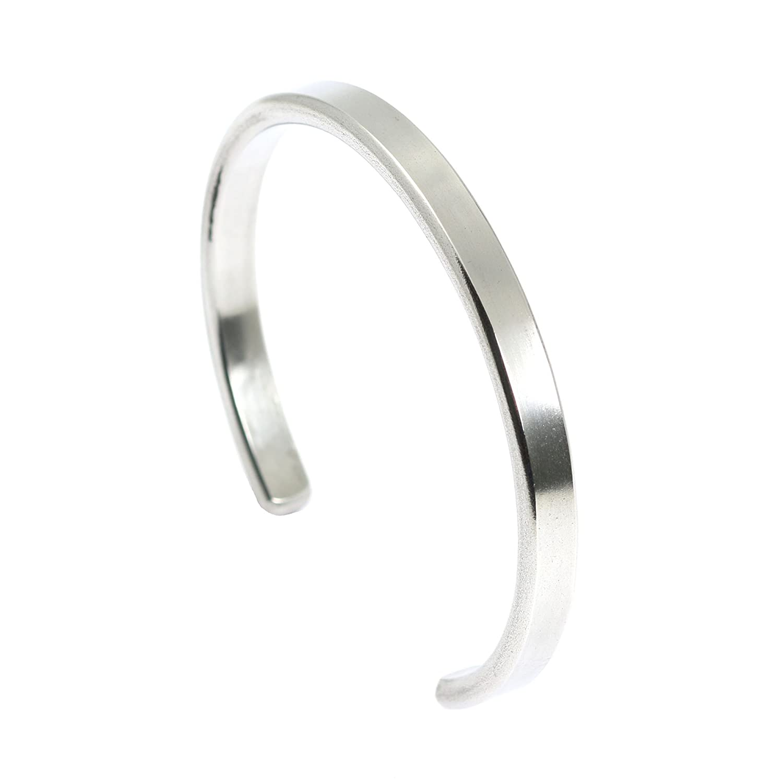 7mm Thin Brushed Aluminum Silver Tone Cuff Bracelet By John S Brana Handmade Jewelry Hypoallergenic