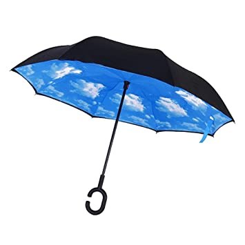 Candora ™ boca abajo Reverse paraguas, resistente al viento fuera plegable doble capa puede,