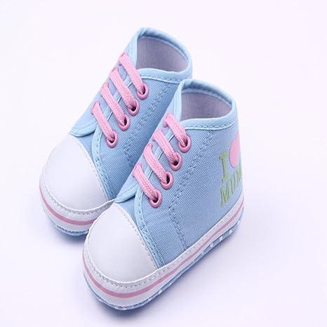 etrack-online bebé niña Prewalker Suela Suave Antideslizante Zapatillas Zapatos azul azul claro Talla: