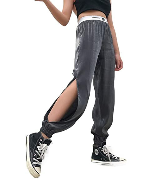 UR MAX BEAUTY Pantalones De Mujer Streetwear Split Lateral ...