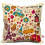 Valentine Gifts for Boyfriend Girlfriend Love Printed Cushion 12X12 Pillow with Filler Insert Beidge Paris Coffee Love Gift for Him Her Fiance Spouse Birthday Anniversary