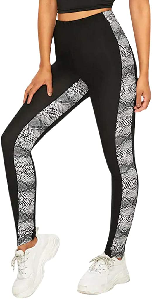 Panpany Women/'s High Waisted Splice Seamless Leggings Gym Fitness Workout Yoga Pants Casual Tight Trousers