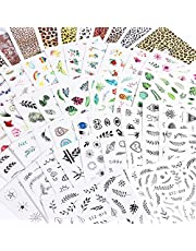 68 Sheets Of Mixed Nail Art Stickers Water Transfer Design Includes Flower Leaf Plant Eyes Leopard Print Butterflies Geometric Flamingo Colors Black White Rainbow Manicure Nail Art Stickers/Decals DIY Women Girls