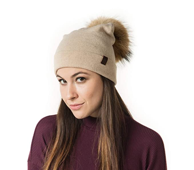 ed94674abf1 Marino Slouchy Beanie Hat for Women - Cashmere Blend - Rabbit Fur Pompom  Beige
