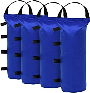 Eurmax 112 LBS Extra Large Pop up Canopy Weights Sand Bags for Ez Pop up Canopy Tent Outdoor Instant Canopies,Sand Bags Without Sand, 4-Pack,Blue