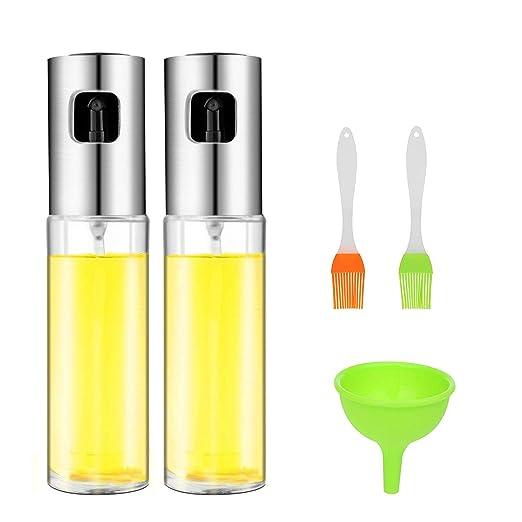 Cozywind 2pcs Pulverizador Aceite,Aceitera de Cocina,100 ml Botella de Aceite de Vidrio para Ensaladas/Tostadas/Barbacoa, con 2 Pequeños Cepillos de ...