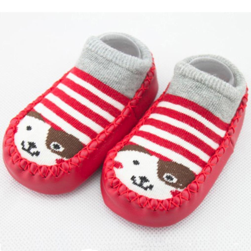 Iuhan 0-24Months Baby Boys Girls Cartoon Anti-Skid Baby Booties Sock Slipper Shoes