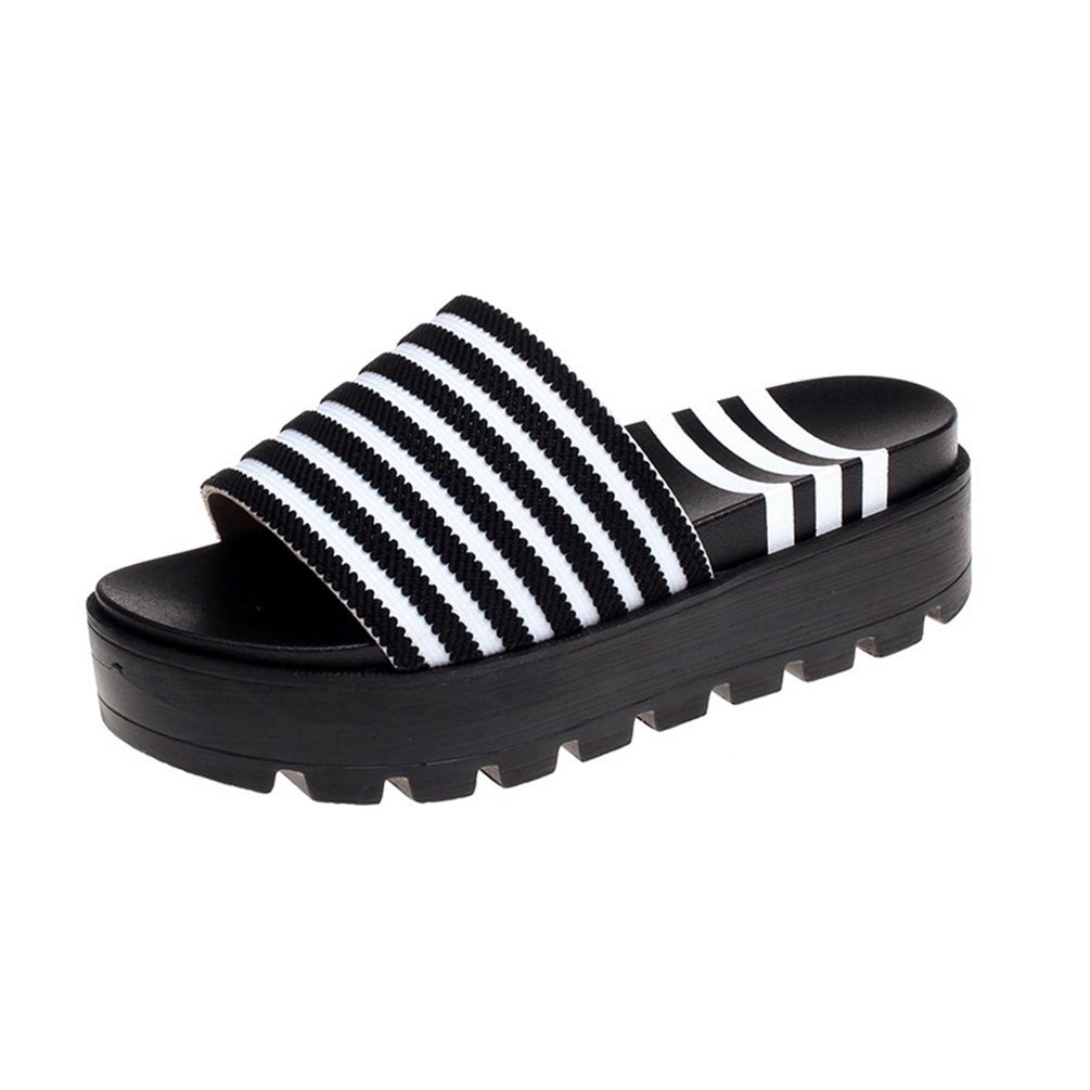 JITIAN Plates Sandales Tongs Plates Bout Mode Femmes Chaussures à Rayures Bout Ouvert Claquettes Plateforme Plage Tongs Blanc c4bdb7d - automaticcouplings.space