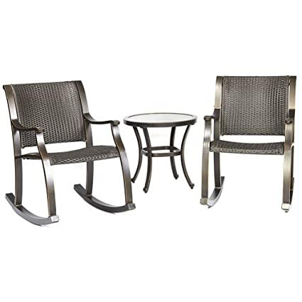 Dali 3 Piece Bistro Set, Tempered Glass Table Wicker Mesh Rocking Chair  Patio Backyard Outdoor
