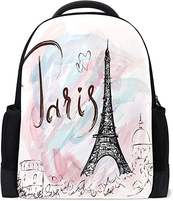Vdsrup Vintage Eiffel Tower Paris Backpack Romantic France Flower Love Heart Pink Bookbag Laptop Book Bag Casual Water Resistant Day Pack Travel Sports Daypack for Men Women