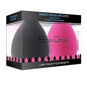 EmaxDesign Set de 2 esponjas para aplicar maquillaje, sin látex, hipoalergénicas e inodoras