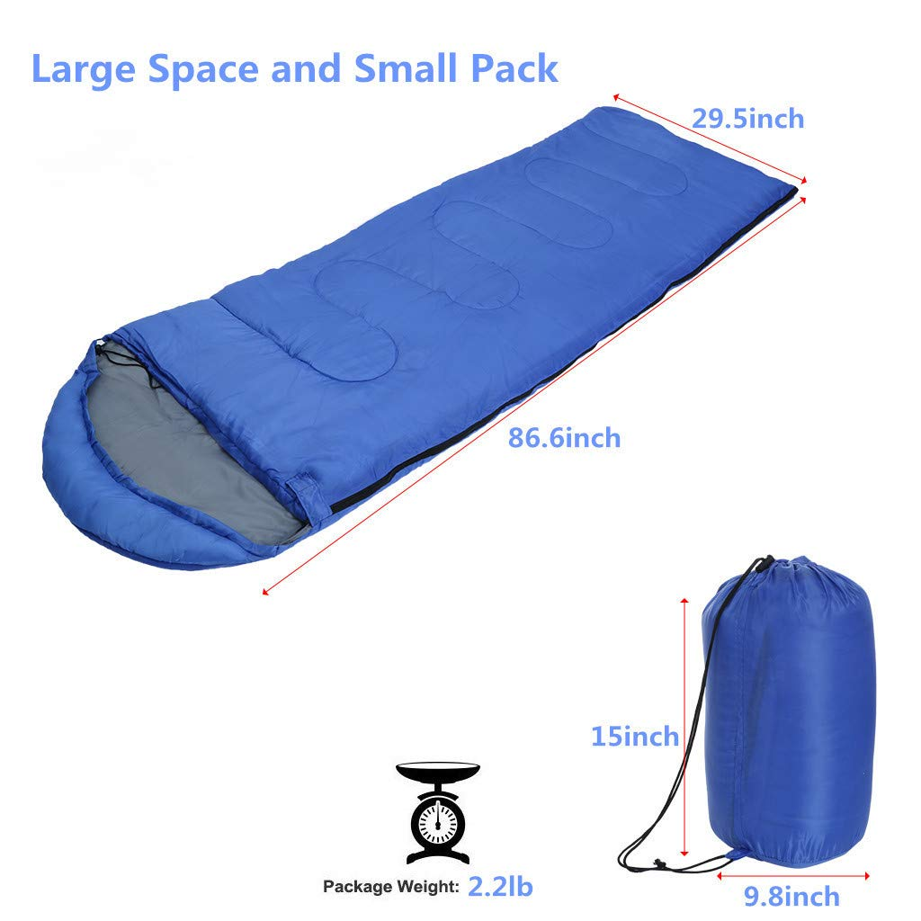 Besde Sport Sleeping Bag, Lightweight Portable, Waterproof, Comfort with Compression Sack - Great for Traveling, Camping, Outdoor Activities (Blue) by Besde Sport (Image #2)