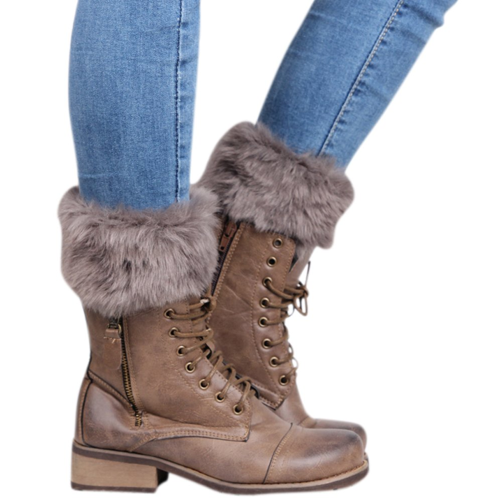 Kingbra Women Cozy Faux Fur Knitted Boot Cuffs short Leg Warmers Dark Grey OneSize